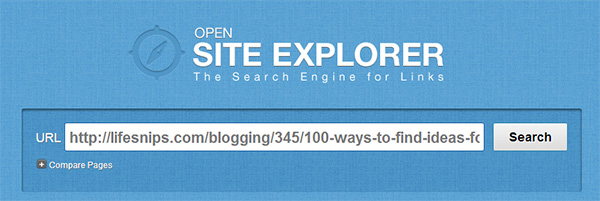 using open site explorer to search a domain